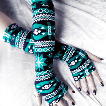 Arctic Aztec Arm Warmers - Deep Teal Turquoise White Black Tribal - Yoga Gothic Unisex Hooping Bellydance Winter Cycling Victorian Goth Star