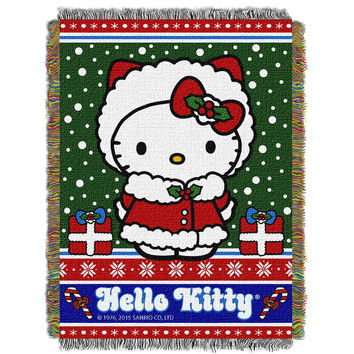 Hello Kitty Snowy Kitty  Woven Tapestry Throw (48inx60in)