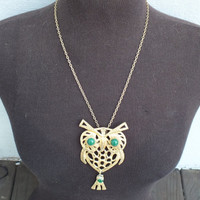 Vintage Owl Necklace with Chain, Owl has Gold Body and Green Eyes Big 5 Inch Pendant, Retro 1970s Fashion Jewelry Free Shipping and Gift Box