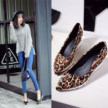 New Elegant Comfortable Causal Summer Korean Shoes Pointed Toe Wedge Stylish Leopard Casual Loafer Shoes [6050208961]