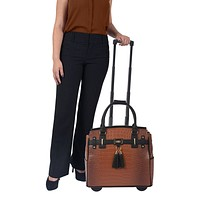 """THE BOSTON"" Brown Alligator Rolling iPad, Tablet or Laptop Tote Briefcase or Carryall Bag"