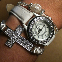 Set of 3 White and Silver Arm Candy Stack Bracelets Watch Included