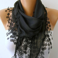 Black Scarf  - Cotton  Scarf - Cowl with Lace Edge   -