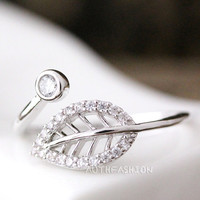 Adjustable Crystal leaf Ring Twig Ring Silver Plated Jewelry gift idea Open Free size Wrap Ring byr20