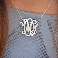 Monogram Style Script Initial Letter Necklace Silver or Gold tone