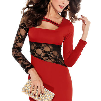 Long Sleeved Red Mini Dress with Floral Lace Inserts