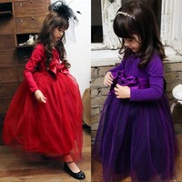 2017 Autumn Winter Girls Dress Red Purple Princess Baby Clothes Children Clothing Wedding Party Costume Kids Dresses For Girl