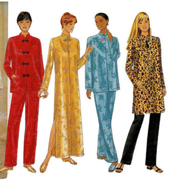 UNCUT Butterick 5324 CAFTAN TUNIC ToP & Pants Asian Inspired Tunic Caftan Frog Closures Mandarin Collar Size 8 10 12 Womens Sewing Patterns