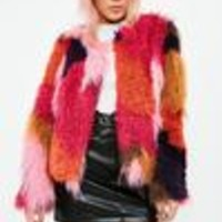 Missguided - Red PatchWork Faux Fur Coat