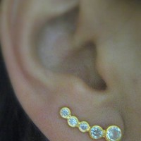 Ear Pin Sweep Wrap - Cuff Earring with CZ stone - 925k Silver Gold pl.