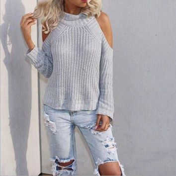 Strapless High Collar Knit Tops Sweater