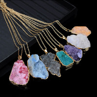 New Geometric Fashion Gold BezelNatural Stone Quartz Druzzy Agate Pendant Necklace