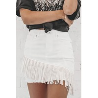Feelin' Fringy White Fringe Denim Mini Skirt
