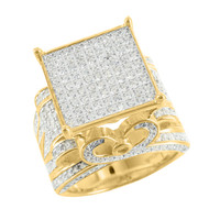14k Gold Tone Ring Simulated Lab Diamonds Square