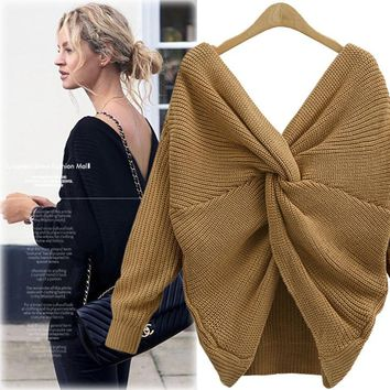 STYLEDOME Women Sweater Vestido Plus Size Fashion Loose Deep V-Neck Backless Knitted Sweater
