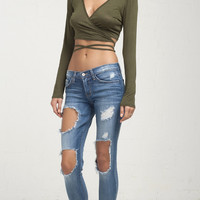 Tie Wrap Around Long Sleeve Crop Top - Olive