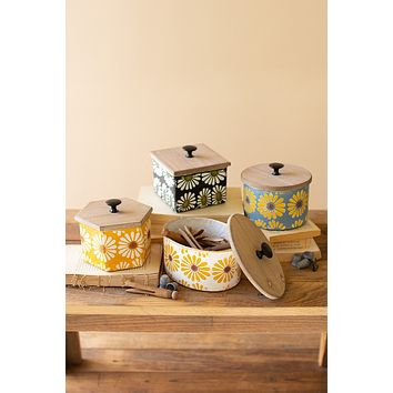 Set Of Four Wood & Metal Canisters With Painted Flower Detail