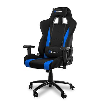 Arozzi Inizio Ergonomic Fabric Gaming Chair with High Back, Rocking & Recline Function - Blue Black and Blue