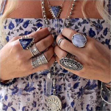 s Vintage Turkish Beach Punk Zircon Ring Ethnic Carved Totem Antique Silver Plated Boho Finger Ring Knuckle Charm Anelli