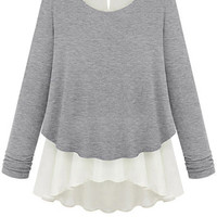 Long Sleeve Chiffon Splicing Knitwear