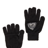 Plush Heart Patch Smartphone Glove in Black