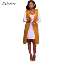 Echoine 2017 Autumn Fashion Women Long Vest Sleeveless Turn Down Collar Pockets Office Coat Jacket Business Waistcoat Outwear