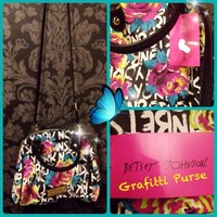 💋 Betsey Johnson Mini Dome Black Grafitti Purse💋