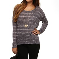 Sale-navy Two Tone Striped Top