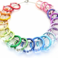 Extra Small Rainbow Stitch markers for socks | Knit stitch marker | No snag stitchmarkers | Accessory for Knitting / clear beads | #0535