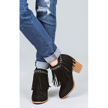 Michelle Fringe Chain Booties