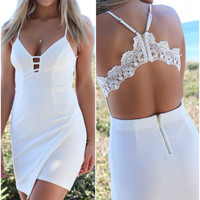 Above The Clouds White Asymmetric Mini Body Con Dress Lace Detail