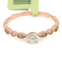 Delicate Classic Rose Gold CZ Ring