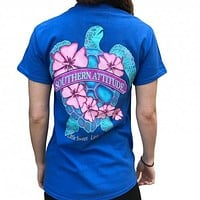 Southern Attitude Snappy Sea Turtle Flower Blue T-Shirt