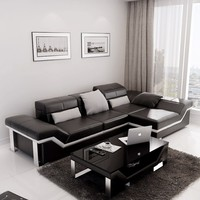 Small Contemporary Leather Sectional - Opulentitems.com