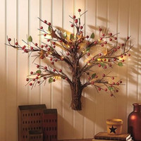Wall Sculpture Tree Lighted Art Rustic Country Primitive Cabin Star Home Decor