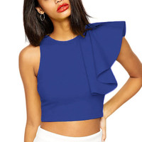 Royal Blue One-Shoulder Ruffled Crop Top