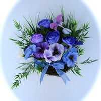 Natural Hanging Twig Basket  - Purple and Blue Pansies and Ranunculus Flowers