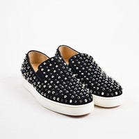 HCXX ?Christian Louboutin Black Suede Spike   Roller   Slip On Sneakers