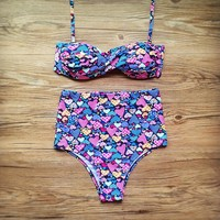 Summer Swimsuit New Arrival Beach Hot With Steel Wire Sexy Floral Swimwear High Waist Bikini [8678839245]