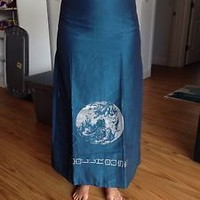 Dollhouse 7/8 Teal A-line Skirt With World Graphic