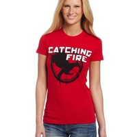 FEA Juniors Hunger Games Logo Catching Fire Tee, Red, Small