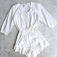 Lioness - Age of Innocence Eyelet Romper in White