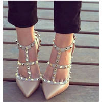 Ankle Strap Studded Pointed Toe Heels