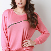 Front Slanted Zipper Jersey Knit Long Sleeve Sweatshirt