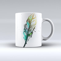 The Splatter Watercolor Feather ink-Fuzed Ceramic Coffee Mug