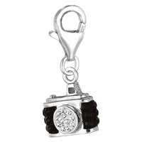 Sterling Silver Enamel & Crystal clip-on camera charm