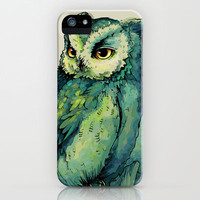 Green Owl iPhone & iPod Case by Teagan White