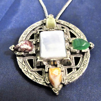 Pendant Gem Stones Necklace Jewelry Silver Tone Game Of Thrones Vintage blm