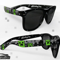 Minecraft Sunglasses - Wayfarer sunglasses video game unique hand painted - Creeper - TNT - grey green black