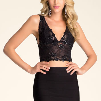 bebe Womens Karina Beaded Bra Top